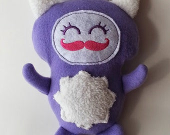 Purple and White Fleece Embroidered Snuggle Monster with Mustachioed Cute Face