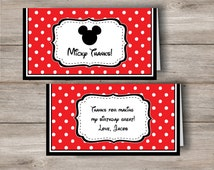 Mickey Mouse Personalized Treat Bag Topper with Editable Text, Mickey Mouse Treat Bag Topper with Changeable Text, Mickey Treat Bag Topper