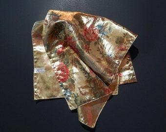 "10"" x 61"" Gold Metallic Long Silky Scarf Floral/Flower Design"