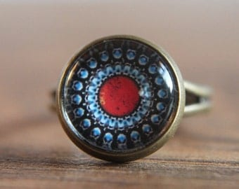 Red Ring, Medieval, Glass Dome Ring, Adjustable Ring, Statement Ring
