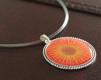 Large Sun Pendant Necklace, Short Silver Necklace, Celestial Sun Pendant, Beach Jewelry