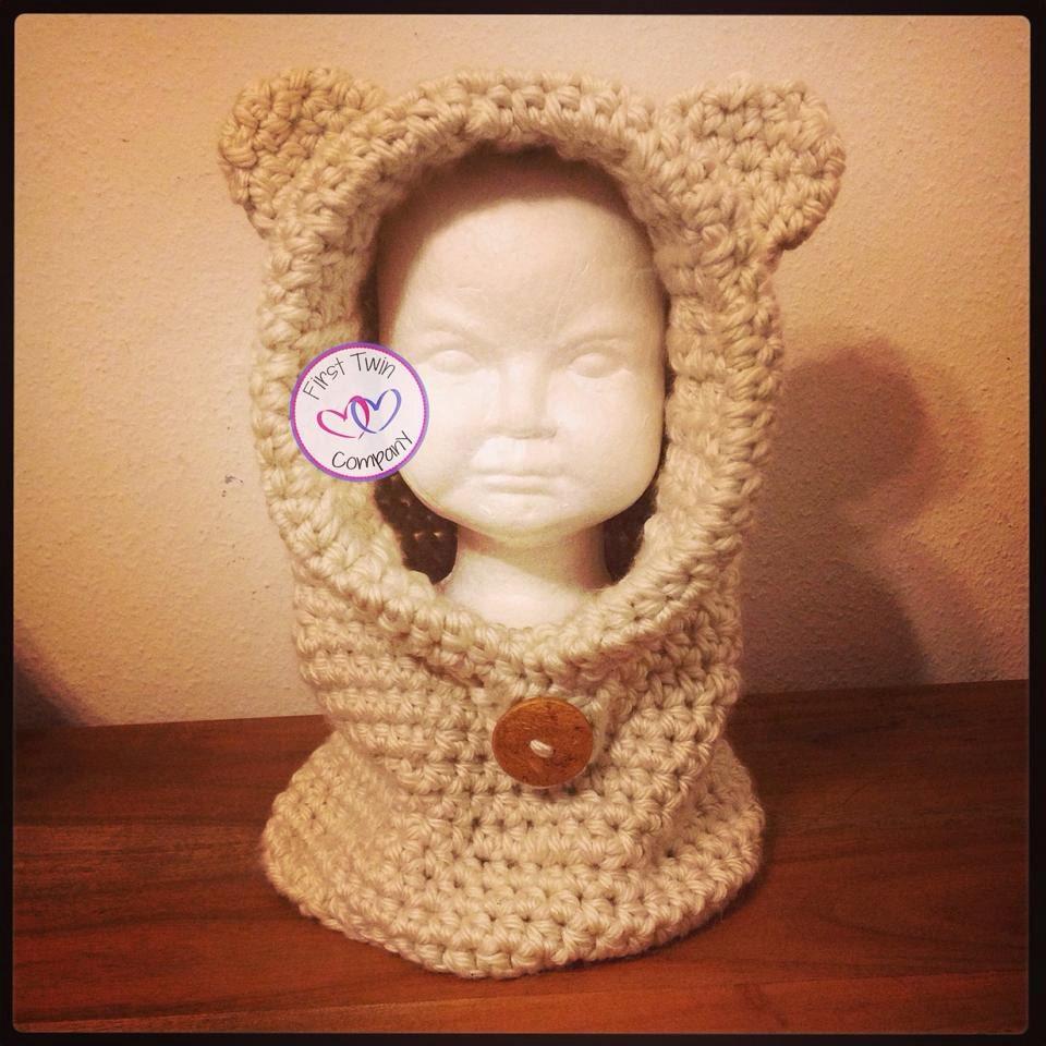 Teddy Bear Cowl Crochet Pattern Free : Bear Hooded Cowl Crochet Pattern Sizes 12M-Adult. Hooded cowl