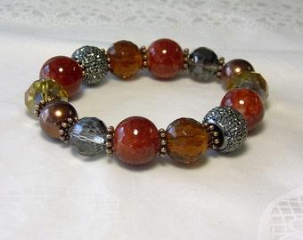 """Cynthia Lynn """"FIRESIDE"""" Red Amber Copper Glass Bead & Crystal Stretch Bracelet  7"""""""