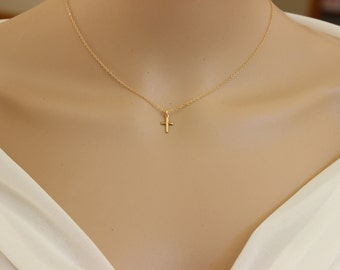 Tiny cross necklace, Dainty cross necklace, layered necklaceDelicate Necklace, children Necklace, Confirmation gift,  Baptism Gift