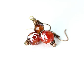 Fire Agate Earrings, Orange and White Agate Earrings, Amber Crystal Earrings, Orange Earrings