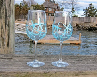 Teal Blue/White Starfish - Set of 2 Hand Painted White Wine Glasses 'Beach Vacation Basket/Nautical Bridal Shower/Tropical Gifts Under 50'