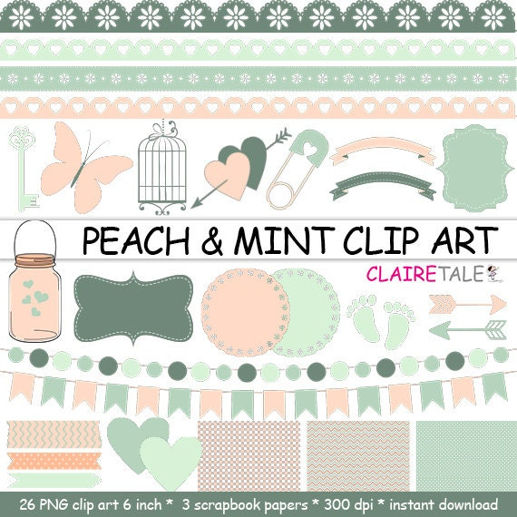 digital peach mint clipart frames ribbons borders flags arrows butterfly lights hearts mason jar key bird cage baby shower - Mint Picture Frames