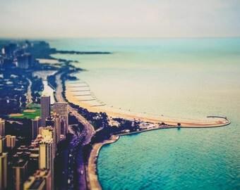 "Chicago Art, Chicago Photography, 8x10 Print, North Avenue Beach, Lake Shore, Chicago Skyline, Lake Michigan, Urban Wall Art, ""Hooked"""
