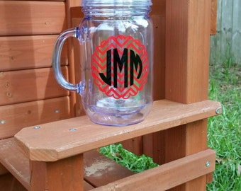 Chevron Monogram Tumbler,  Mason Jar Tumbler, Monogram Tumbler with Handle