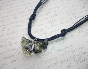 Bell flower pendant navy blue necklace