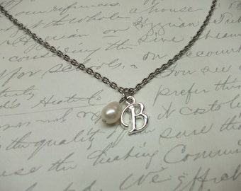 Silver initial charm necklace with freshwater pearl
