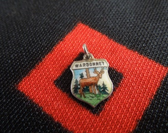 Enamel Sterling Warbonnet Charm Warbonnet Montana Shield Crest with Deer Sterling Silver Charm for Bracelet from Charmhuntress 01107