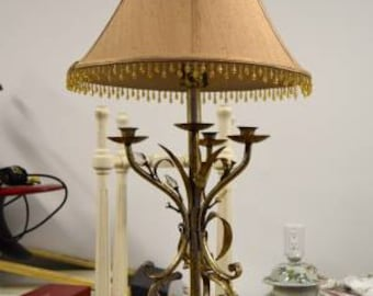 Vintage Brass/Gold Leaf Table Lamp-Hollywood Regency Style-Silk Shade