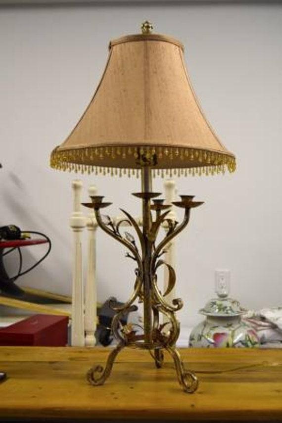 Vintage Brass/Gold Leaf Table Lamp-Hollywood Regency Style-Silk Shade