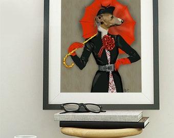 Greyhound Art Print - Elegant dog print Whippet art print whippet print greyhound print gift for greyhound lover dog lover italian greyhound
