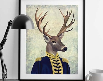 Captain Deer - Military Style Deer illustration Deer print stag gift for men Military Uniform Deer head Deer antlers cabin art cabin decor
