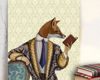 Fox Art Print - Fox & Book  - Fox in smoking jacket fox illustration fox wall art red fox print book lover gift literary poster library