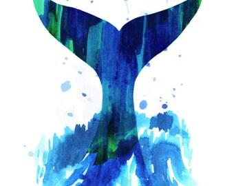 Whale (tail, wave, ocean, joy)