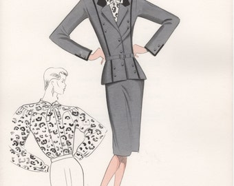 Italian Fashion Drawing, Watercolor Ink Illustration, Dark Grey Suit Satin Blouse Outfit 80's Fashion illustration, Hand Drawn Sketch Croqui