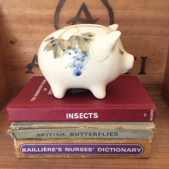 1970s handpainted ceramic piggy bank - Piggy bank without stopper ...