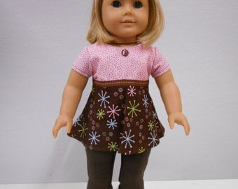 American Girl Brown Leggings and Dress Set