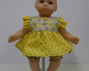 Itty Bitty Baby Yellow and Grey Print Dress