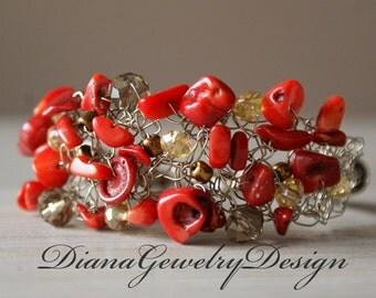 Coral Cuff Bracelet, Red Bracelet, Red Coral, Bracelet, cuff bracelet, Silver, wedding, bridesmaid