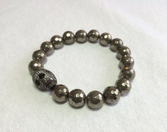 Faceted Pyrite Bracelet with Sterling Pave CZ Skull