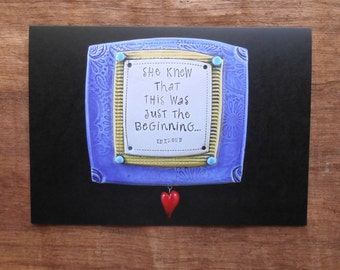 """Blank Notecard; """"She Knew That This Was Just the Beginning""""; Greeting Card; Inspirational Quote; Starting Over; New Beginnings; Fresh Start"""