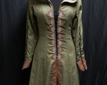 Legend of the Seeker Replica Confessor Kahlan's Green Linen Travelling Gown dress from Season 1 Custom made