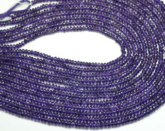 2 Strands AAA 16 Inch 5-6mm Vivid Natural Purple Amethyst Faceted Rondelle Beads Strand-Amethyst Faceted Rondelles
