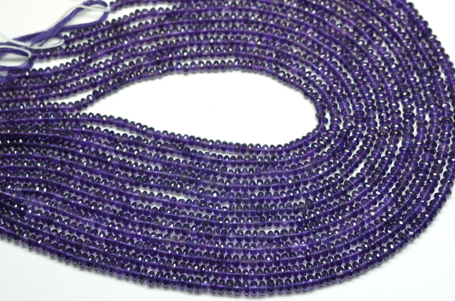 3 strands aaa 16 inch 5 6mm vivid natural purple amethyst faceted rondelle beads strand amethyst. Black Bedroom Furniture Sets. Home Design Ideas