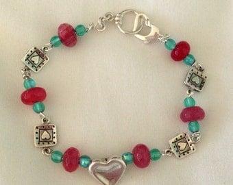 Sterling Silver Artisan Hearts, Rhodochrosite and Turquoise Czech Glass Beaded Bracelet