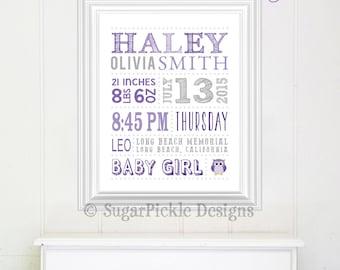 Baby stats art, nursery subway art, girl baby birth stats, birth stats wall art, Nursery Print, Nursery Art, new parents gift