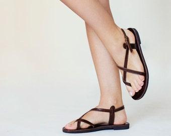 Dark Brown Toe-wrapper Double Leather Women Sandals