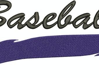 Baseball Swoosh Machine Embroidery Design 005