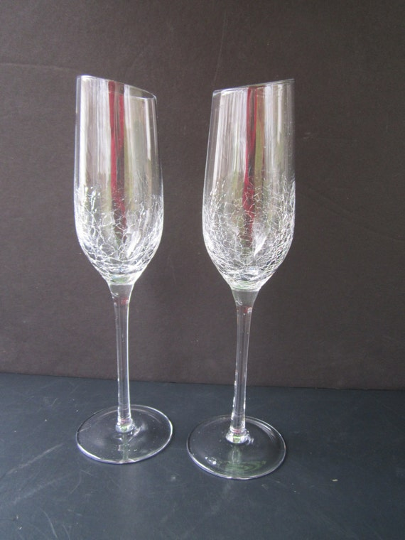 champagne toasting flutes crackle glass wedding glasses