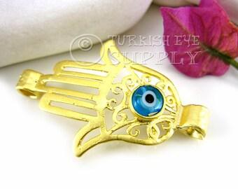 22K Gold Plated Hamsa, Hand of Fatima Connector with Aqua Blue Evil Eye, Hamsa Bracelet Connector, Turkish Jewelry