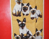 Vintage Fallini & Cohn Lois Long Siamese Cat Tea Towel, 1950s Vintage Cat Kitchen Towel