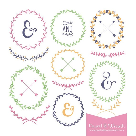 Laurel & Wreath Digital Clipart - Graphics for Wedding Invites, Photography, DIY | Commercial License Available