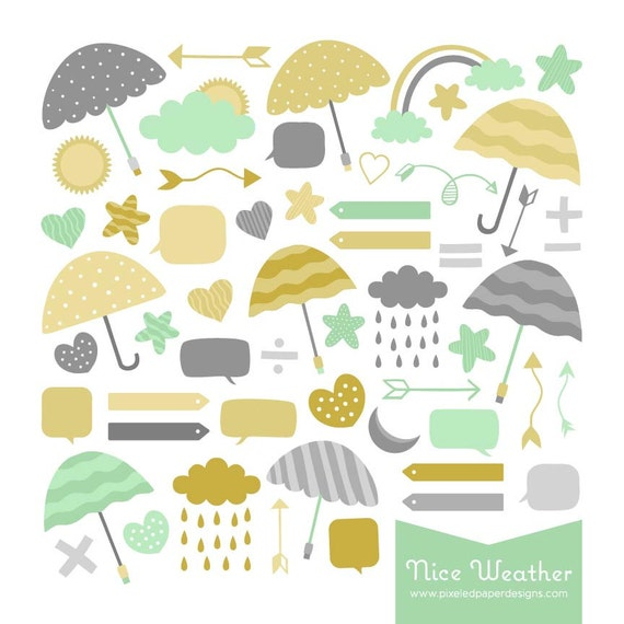 Nice Weather Digital Clipart: Clouds, Umbrella, Bubble, etc. Graphics for Photography, Scrapbook, DIY | Commercial License Available