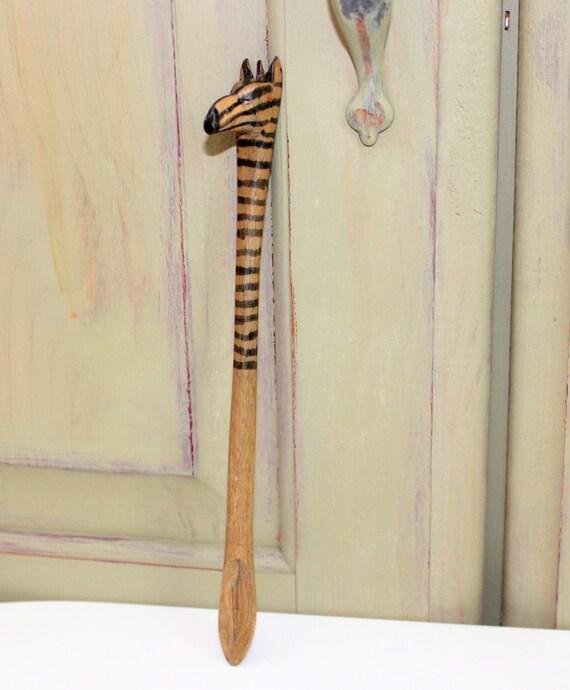 Vintage Wooden Zebra Spoon Hand Carved African By Iguanafindit