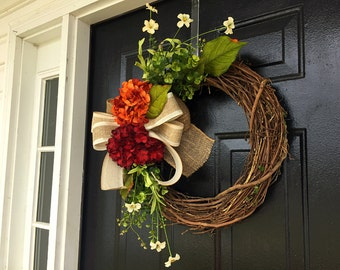 summer hydrangea wreath, wreath for summer, spring wreaths, door wreath