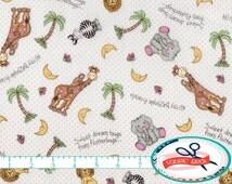 BAZOOPLES Fabric by the Yard, Fat Quarter Giraffe Fabric Elephant NURSERY Fabric Animal Fabric Quilting Fabric 100% Cotton Fabric t5-29