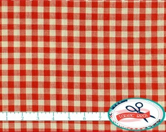 RED HOMESPUN Fabric by the Yard, Fat Quarter Red Check Fabric Red Farmhouse Fabric 100% Cotton Fabric Quilting Fabric Apparel Fabric w5-10