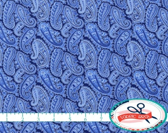 PORCELAIN PAISLEY Fabric by the Yard, Fat Quarter Blue Fabric Silver Metallic Fabric 100% Cotton Fabric Quilting Fabric Apparel Fabric t1-22