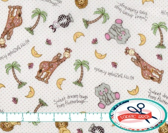 BAZOOPLES Fabric by the Yard, Fat Quarter Giraffe Fabric Elephant NURSERY Fabric Animal Fabric Quilting Fabric 100% Cotton Fabric t5-29