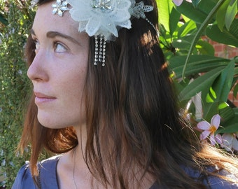 Ivory Lace Headpiece/Halo/Headband, embellished with crystals and beads