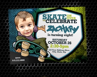 Skateboard Birthday Invitations, Skate Invitations, Skate Board, DIY Printable