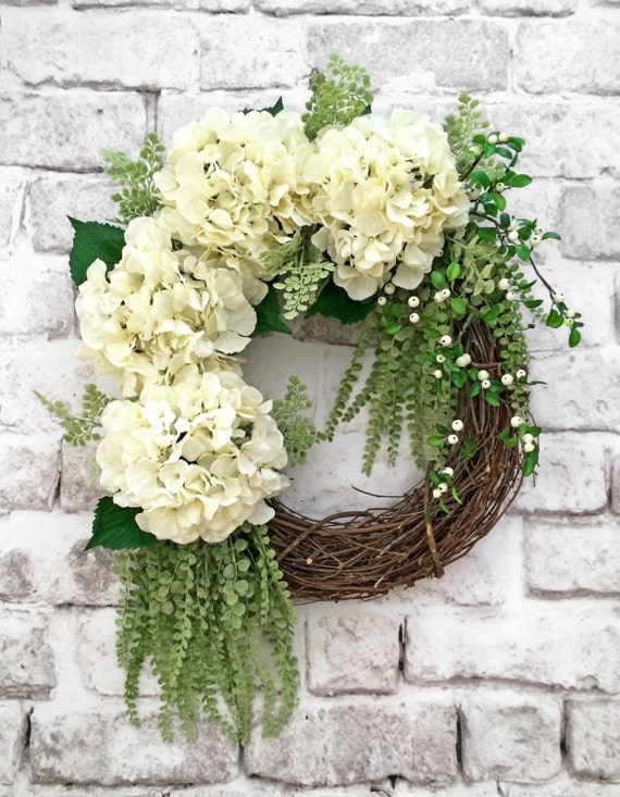 White hydrangea wreath spring wreath summer wreath for door How to decorate a wreath